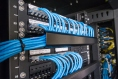Ethernet cables and path panel in rack cabinet